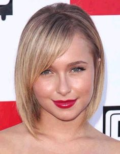 Description from website: Chin-length bob for round and square faces Hayden Panettiere plays down a round face with a short, sleek, funky bob cut. The same cut also works on square faces.