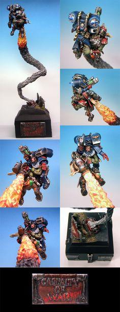 GDUK 2005 Duel, Casualty of Waaaargh!, Ork Stormboy Assault Marine diorama, conversion, exhaust plume, Warhammer 40k.