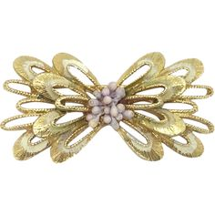 c7cc90498 Signed Florenza Looped Floral cluster Pin white green enamel. Vintage  Brooches ...