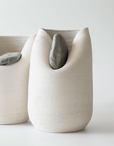 Drawn From Nature And Distorted By Stone, The Ceramic Work of Marc Vidal and Martín Azúa - IGNANT Together with ceramicist Marc Vidal, Basque designer Martín Azúa has created a project titled simply: 'Vase With Stone'. Ceramic Clay, Ceramic Pottery, Slab Pottery, Ceramic Bowls, Pottery Art, Cerámica Ideas, Clay Vase, Keramik Vase, Modern Ceramics