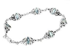 """Sterling Silver Blue Topaz Celtic Trinity Knot Bracelet 7.5""""(Lengths 7"""",7.5"""",8"""") Silver Insanity. $119.97. @Size"""" Long and 3/8"""" Wide. Weight is About @Weight Grams. Crafted of Nickel Free Sterling Silver. Closes with a Lobster Claw Clasp. 4x8mm Marquise-Cut Blue Topaz Stones"""