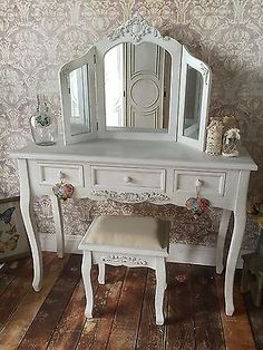 Shabby Chic White Wash Dressing Table, Stool & Mirror French Vintage 801/49/96 Round Stool, Dressing Table, Autumn Home, Dream Bedroom, French Vintage, Entryway Tables, I Shop, Shabby Chic, Vanity