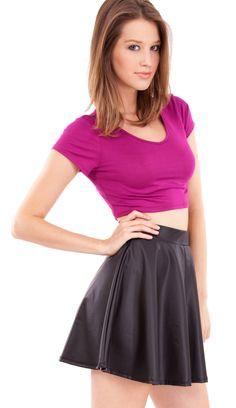 Stretch Knit Crop Top   http://www.clotheseffect.com/T365MG  #croptop