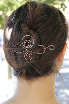 Copper, hair slide, metal, hair pin. hair clip, wire, barrette, hair fork, woman's accessories, oxidized, for her