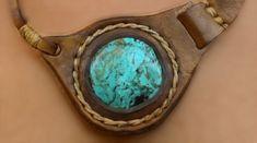 Cuero collar collar de piedras preciosas turquesa hecho a
