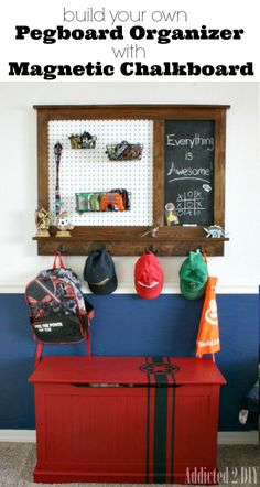 Build your own pegboard organizer with a magnetic chalkboard. Perfect for offices, kid's rooms, college dorms, etc.