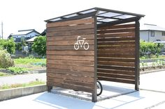 6 photos by BycycleParking Garage Velo, Bike Shelter, Outdoor Shelters, Small Sheds, Bicycle Storage, Bike Shed, Diy Bench, House Rooms, Outdoor Storage