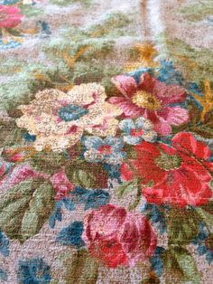 Vintage Conso Bestpleat Floral Barkcloth curtain panel