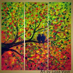 Journey Original Modern Contemporary Whimsical Birds Tree Fall Landscape Painting Triptych Oil Art by Luiza Vizoli 36x36 on Etsy, $300.00