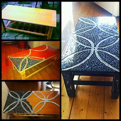Mosaic coffee table -Making an old piece of furniture look brand new with a simple mosaic