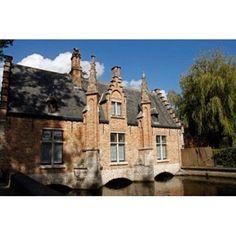 Canal Building Bruges Belgium Canvas Art - Kymri Wilt DanitaDelimont (36 x 24)