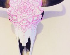 Unique Hand Painted Bull Skull by ellebailliedesigns on Etsy