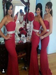 Long bridesmaid dress,red bridesmaid dress, jersey Bridesmaid Dress,Strapless bridesmaid dresses,mermaid bridesmaid dresses,PD20093