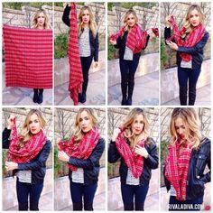 "DIY Blanket Scarf Tutorial - 55"" x 55"" flannel cloth, fray edges & then wrap up! :)"