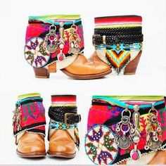 How to Chic: DIY BOHEMIAN BOOTS (inspired to create sandal/shoe decorations) - The latest in Bohemian Fashion! These literally go viral! Gypsy Style, Boho Gypsy, Hippie Style, Hippie Bohemian, Bohemian Style, Boho Outfits, Botas Boho, Bohemian Boots, Hipster Shoes