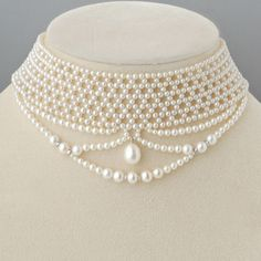 Edwardian Pearl Necklace Antique Style Choker