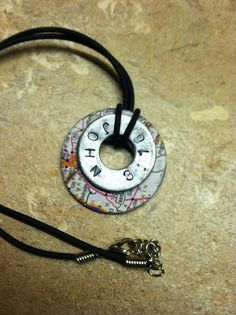 Map necklace made from washers for Journey off the map craft.
