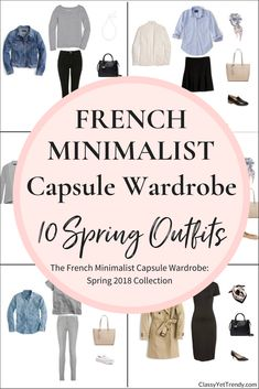 Create a Winter French Minimalist capsule wardrobe on a budget! This post is a preview of the e-Book, The French Minimalist Capsule Wardrobe: Spring 2018 Collection. I'm sharing a few pieces in the capsule wardrobe that you can mix and match, to create several outfits! See a few pieces in outfit ideas like a white tee, button up shirt, striped top, blouse, pants, jeans, a skirt, flats, pumps, all inspired by styles of France.