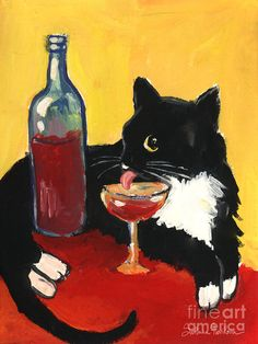 Whimsical Tuxedo Cat drinking Painting  - Whimsical Tuxedo Cat drinking Fine Art Print