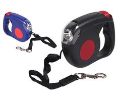 """Don't get tangled up in a mess when you take your dog for a walk. Grab a retractable dog leash for $12 from TreasureBox. Retractable dog leash with """"push lock"""" for easy length adjustment. Enjoy a safer walk with a built in LED front light."""