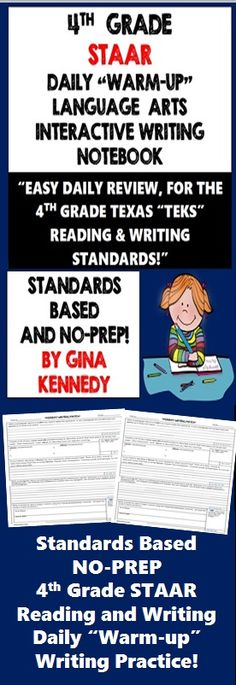 4th Grade STAAR Daily Writing and Reading Skill Review! Writing responses and activities 100% aligned to the 4th Grade STAAR standards for every day of the week.   For every day of the week I have prepared a template with activities that will encourage 4th graders to use all of their language arts skills. The templates are generic topics so that the student's responses can be relevant at all times.  This interactive notebook can be used weekly, monthly or for weeks leading up to the STAAR ex...