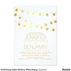 Gold String Lights Modern White Engagement Party