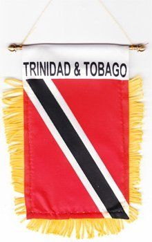"""Trinidad and Tobago - Window Hanging Flags by Flagline. $2.75. 4"""" x 6"""" Fringed Window Hanging Flag. We are pleased to provide a selection of window-hanging flags, perfect for display in your vehicle. These are approx. 4.5"""" x 4"""" flags with fringed edges and a gold rope which attaches to the supplied suction hanger, or mounts directly over your rear-view mirror.. Save 30%!"""