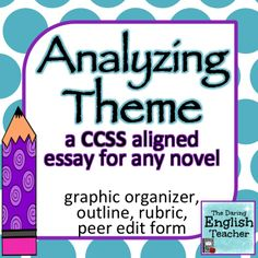 A CCSS aligned essay that asks students to analyze how the theme of a fictional text emerges, is shapes, and refined. Includes a graphic organizer, rubric, outline, and peer edit form. **Works for ANY fictional text!