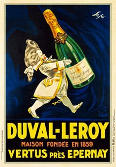 Duval Leroy 1923 France - Beautiful Vintage Poster Reproduction. This vertical french wine and spirits poster features a small nobleman in a white wig and jacket carrying a huge bottle of Champagne. Giclee Advertising Print. Classic Posters