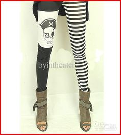 Cartoon Patterned Leggings Pirate Pants Flexible Mix Order Tights Skinny For Womens Lady Girls Lace