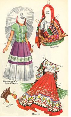 Reprint of CHA CHA CHA Paper Dolls with costumes representative of traditional dress in assorted Central and South American countries. Judging by the style and the cover price, the reprint probably is from the early 60s. <><> 3 of 8