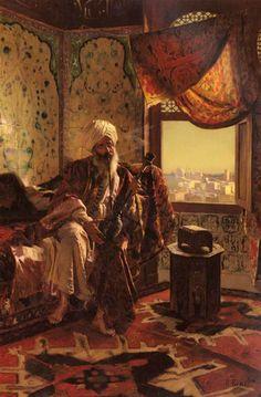 Smoking The Hookah - Rudolf Ernst @@@.....http://www.pinterest.com/marit0704/orientalist-paintings/