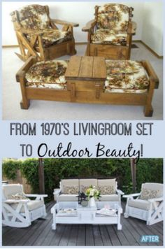 I have seen these living room sets in thrift stores and passed them up.quickly, but I love how this was recycled into a beautiful outdoor furniture set. # refurbished Furniture Set to Outdoor Beauty! Refurbished Furniture, Repurposed Furniture, Painted Furniture, Rustic Furniture, Antique Furniture, 1970s Furniture, Luxury Furniture, Farmhouse Furniture, Metal Furniture