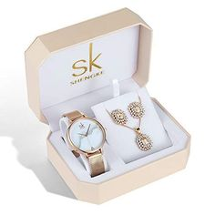 SK SHENGKE Women Watches Necklace Stud Earring Luxury Ros... ⛄️BEST CHRISTMAS 🎄GIFTS🎁: Luxury rose gold women watch, necklace and earring must be best Christmas gifts for your female friend, your mother, your sister.