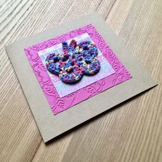 Pink and Rainbow Crochet Butterfly Greetings Card £2.75