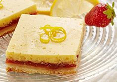Get your kids to help make all three layers of this tasty citrus treat. With strawberry jam and lemon zest, it tastes as refreshing as it looks. Strawberry Recipes, Apple Recipes, Sweet Recipes, Strawberry Jam, Chocolate Mousse Pie, Frozen Chocolate, Brownie Recipes, Chocolate Recipes, Poffertjes Recipe