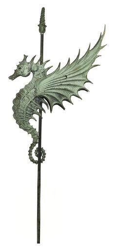 / seahorse / copper weathervane / mullins company / produced in salem, ohio / circa 1895 / Seahorse Art, Seahorses, Mythical Creatures, Sea Creatures, Art Sculpture, Sculptures, Lightning Rod, Weather Vanes, Sea Dragon
