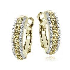 Diamond Earrings Citrines  Goldtone Round Gemstone Glitzy Rocks Accent Hoop set http://www.bonanza.com/listings/265182361