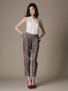 Wool Blend Slim Leg Ikat Pant by Lafayette 148 New York on Gilt