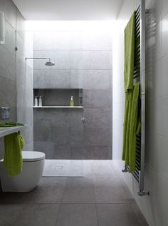 love the large tiles and the pop of colour with accessories - ensuite