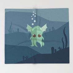 Cthulhu Throw Blanket - Lovable Legends, mythical creature, octopus, demon, tentacles, legend, sea, ocean, water, seaweed, squid, cute, baby cthulu, art, design, vector, illustration
