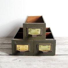 vintage wood & metal hardware store drawer