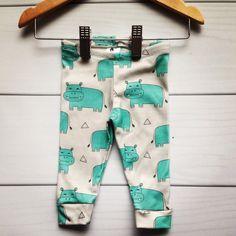 Modern Hippo leggings 100% organic cotton knit by HazelandHolly