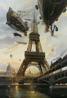 """La Tour"" by Didier Graffet air ships / airships over Paris Eiffel Tower steampunk / dieselpunk setting inspiration Steampunk Kunst, Steampunk Artwork, Steampunk Airship, Style Steampunk, Steampunk Fashion, Steampunk Wallpaper, Steampunk Clothing, Gothic Fashion, Gothic Steampunk"