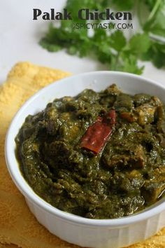 PALAK CHICKEN very tasty breast piece 1 bag spinach 1 bunch cilantro Half tomato Half onion Green mirchi can take for more spice Read More by Indian Chicken Dishes, Indian Chicken Recipes, Indian Dishes, Veg Recipes, Curry Recipes, Indian Food Recipes, Asian Recipes, Cooking Recipes, Recipes