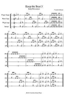 Keep The Beat - 3 Exercises For Orff Body Percussion by Yvonne Johnson Music Elementary Music Lessons, Music Lessons For Kids, Music Lesson Plans, Elementary Schools, Music Classroom, Music Teachers, Music Activities, Leadership Activities, Movement Activities