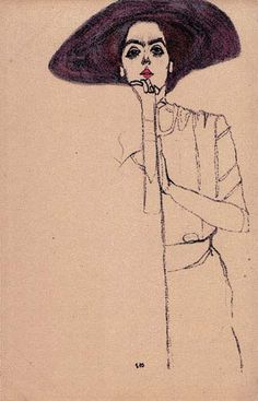 "Wiener Werkstätte postcard ""Portrait of a woman"" by Egon Schiele ▪ 1910 ▪ Ref 290 Dessins Egon Schiele, Egon Schiele Drawings, Egon Schiele Zeichnungen, Gustav Klimt, Painting & Drawing, Life Drawing, Art Drawings, Poster Prints, Illustration Art"