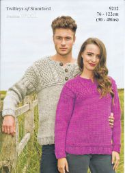 Twilleys of Stamford Mens & Ladies Sweaters Freedom Super Chunky Knitting Pattern 9212 Jumpers For Women, Sweaters For Women, Ladies Jumpers, Knitting Patterns Uk, Top Down, Dog Sweater Pattern, Super Chunky Yarn, Baby Sweaters, Chunky Sweaters