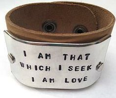 I Am That Which I Seek Leather Cuff Yoga Jewelry by Indo Love $38.00
