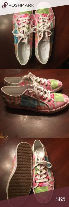 Coach tennis shoes Pastel coach shoes like new!! Coach Shoes Sneakers